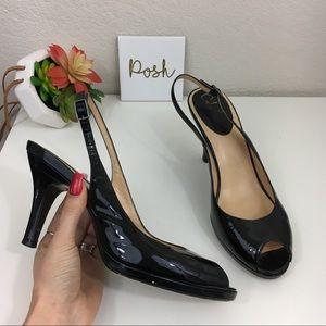 Cole Haan black patent leather sling back heels